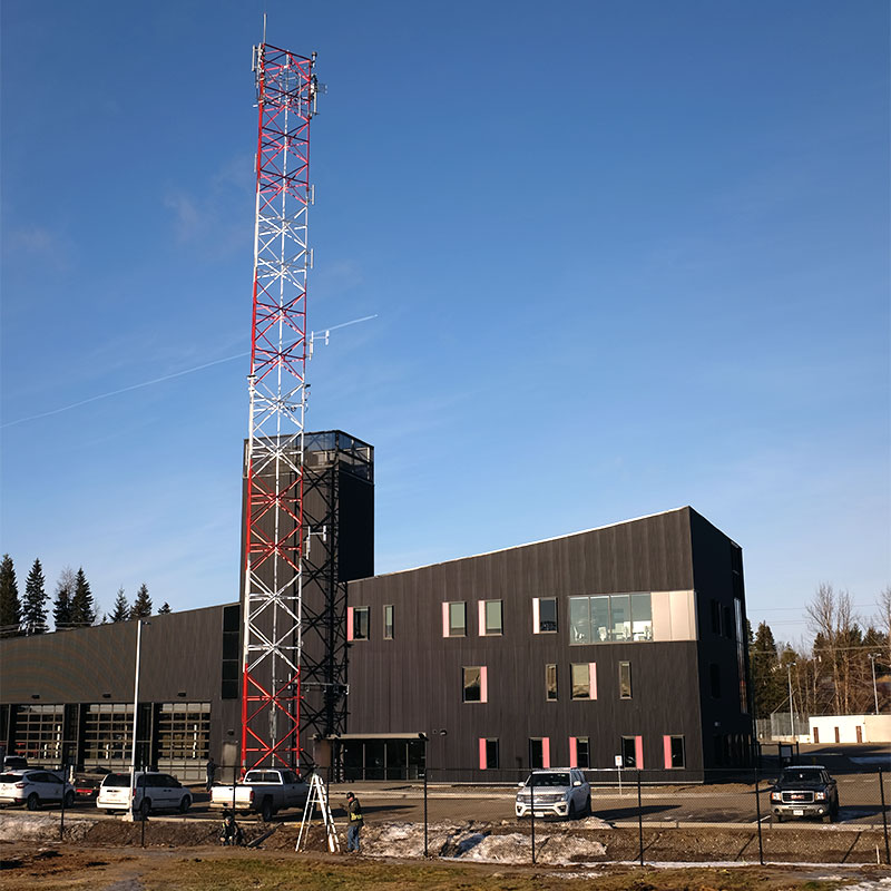 New Fire Hall #1 exterior with communications tower.