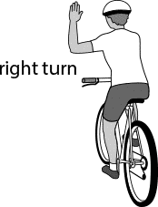 Cyclist right turn hand signal