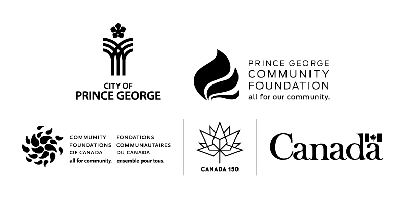 Banner displaying Prince George Canada 150 sponsors