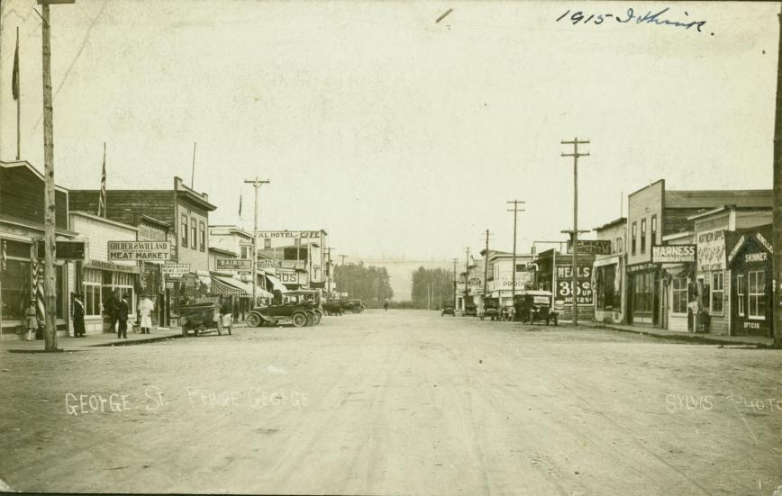 George Street in the town of Prince George in 1915. - Northern BC Archives, UNBC Accession No.2002.7.1.62