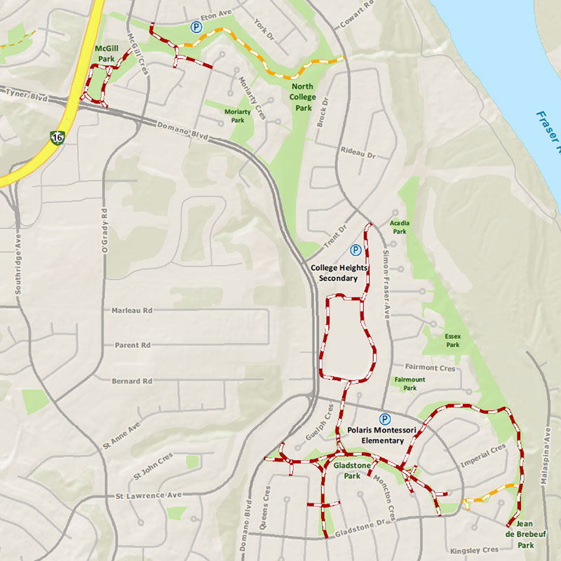 College Heights trail map