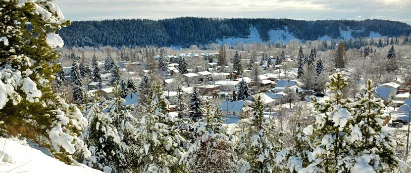 Winter view of downtown Prince George from the top of Connaught Hill.