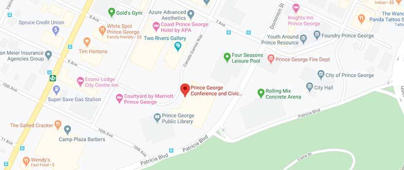Google Map directions to Canada Games Plaza