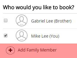 Add a family member during registration