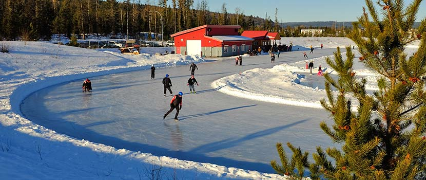 People skating at the Prince George Outdoor Ice Oval