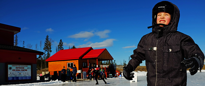 ​Local students enjoy skating on the Prince George outdoor ice oval